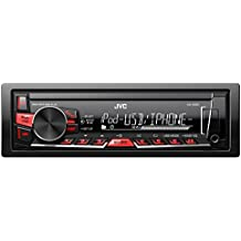 JVC KD-X220 Digital Media Receiver con USB e AUX Frontali, Nero/Rossa