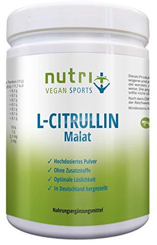 L-Citrullin Malat Pulver 500g - hochdosiert - Pump + Fokus - höchste Reinheit aus Deutschland - Nutri-Plus Vegan Sports - optimiert mit Piperin