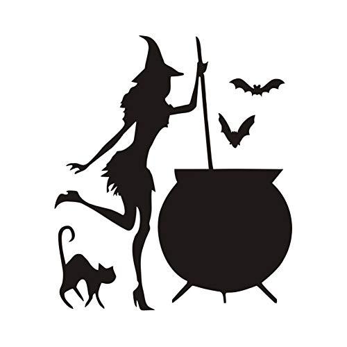 NKBPX Wohnzimmer Wandaufkleber Hexe Kessel Trank Bat Schwarze Katze Vinyl DIY Papier Kunst Tapete Hause Halloween Dekoration Zubehör 43 * 37 cm