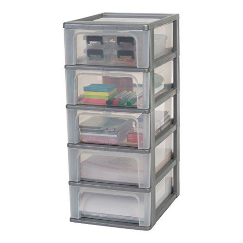 Iris Organizer Chest OCH-2005 Schubladencontainer-/ schrank, Kunststoff, silber / transparent, 35,5 x 26 x 61 cm (Schubladen 5 Organizer)