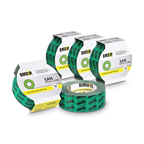 5x BMD - san Hochleistungsklebeband (Grün - 50mm x 25lfm) zur Verklebung von Dampfsperrfolie Dampfbremsfolie nach DIN Norm 4108 Teil 7 Klebeband