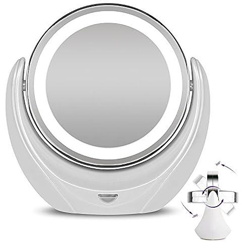 Make-up Spiegel LED Beleuchtet Kosmetikspiegel 1x/5x Vergrößerung Double Face 360° Rotation Spiegel für Beauty, Tisch, Badezimmer, Schlafzimmer, Reisen, Spiegel mit Stand, doppelseitig