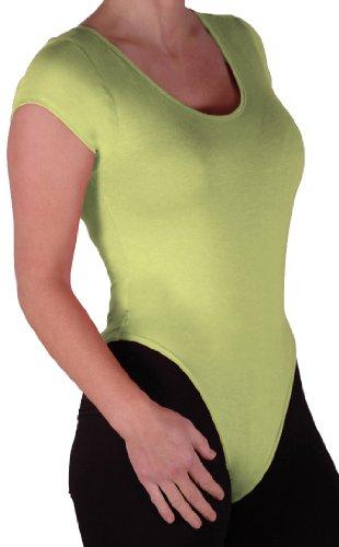 EyeCatch Basics - Damen Kappe Armeln Bodysuit Bodywear Gymnastikanzug Rundem Halsausschnitt Top Lime Grun