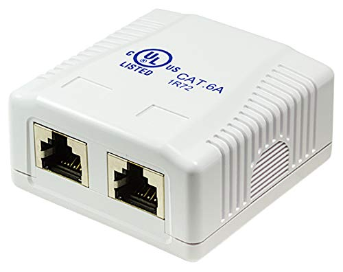 odedo® CAT 6A 10 Gigabit 500Mhz Anschlussdose Universal Netzwerkdose 2X RJ 45 voll geschirmt für 10 Gigabit Reinweiß RAL9010, AWG 22 23 24 25 26 Network Surface Mount Box STP (Mount Box 2port) -