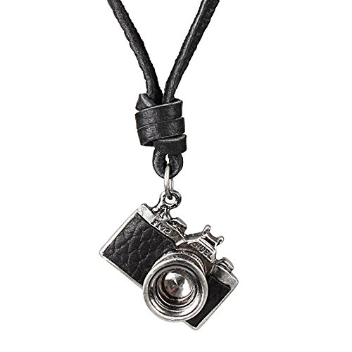 Tinksky Unisex Vintage cámara collar de la cámara ajustable collar de cuero colgante, regalo para hombres de las mujeres (negro)