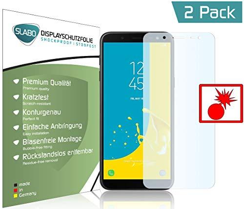Slabo 2 x Panzerschutzfolie für Samsung Galaxy J6 (2018) J600 Panzerfolie Bildschirmschutzfolie Schutzfolie Folie (verkleinerte Folien) Shockproof KLAR - unsichtbar Made IN Germany