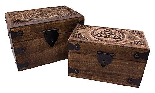 Holzlade Talesin Truhe set aus Holz Mittelalter Schmuckschatulle groß: 23x15x15 cm klein: 20x11x12 cm (Truhe Talesin Groß)