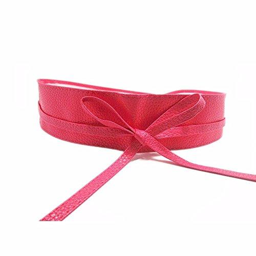 Gürtel Breit 220cm lang Kummerbund Taillengürtel Kunstleder Taille Kleid Braun Schwarz Rot (Pink)
