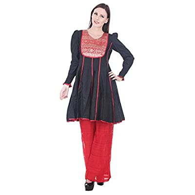 Devaleena Creations Black Cotton Silk-Red Brocade yoke Anarkali with Smocking Sleeves for Girls