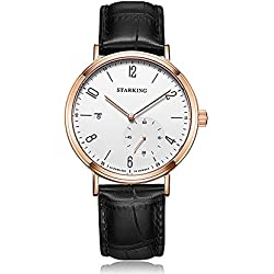 STARKING Men's Automatic Watch Date White Dial Rose Gold Plated with Genuine Leather Waterproof Strap Business Casual AM0232RL21