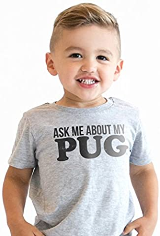 Crazy Dog TShirts - Ask Me About My Pug Infant T Shirt Funny Dog Face Flip Costume Cute Toddler Tee (grey) 2T -