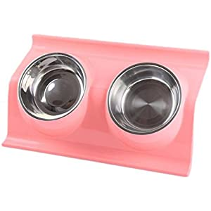 itemer doppelt Edelstahl Hund Katze Schalen Pets Gericht Futterstation Schüssel mit rutschfesten Matte ausschüttsicher
