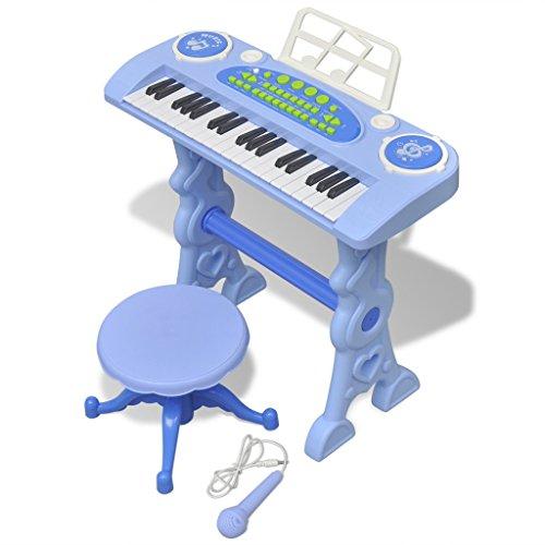 Festnight Kinder Keyboard Spielzeug mit 37 Tasten Kunststoff Kinderpiano inkl. Mikrofon und Hocker für Kinder ab 3 Jahren - Blau