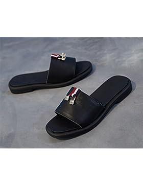 A los deslizadores planos femeninos en forma de sandalias sandalias de verano sandalias femeninas , black , US6.5...