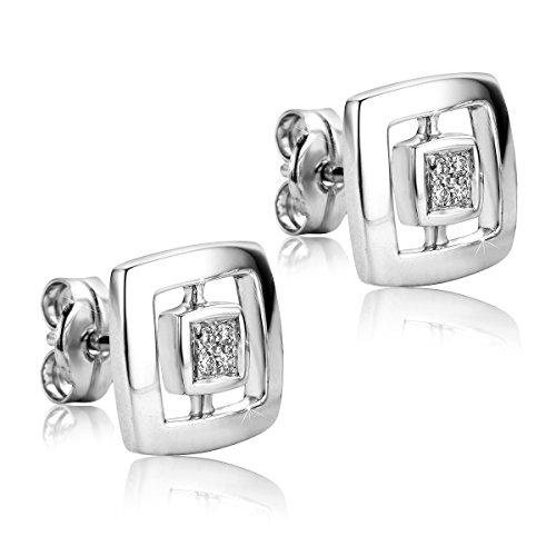 Orovi pendientes de mujer presión 0.05 Quilates diamantes en oro blan