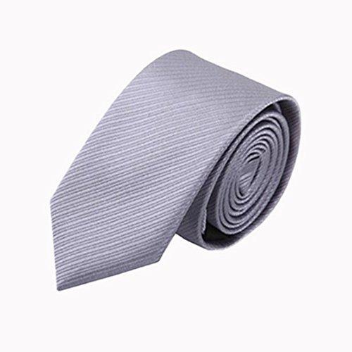 Halstücher Herren Krawatte Solide Krawatte Silbergrau Seide Polyester Mischung Weave Men Neck Tie Tie Neck Silk Dress