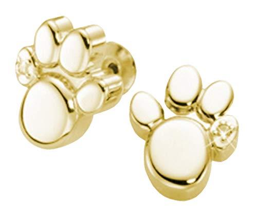 Magnet Ohrstecker Pfote Energetix 4you 1387P Gold 24k Magnetix Tatze Fashion Hund Katze Bär 2250 mit Swarovski® Crystal + Schmuckpouch - Bären Nachricht