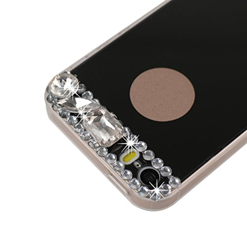 iPhone 5 5S SE Miroir Coque avec Anneau Titulaire, Souple Coquille iPhone 5, Etui iPhone SE Silicone, Moon mood® Diamant Bling Briller Glitter Coloré Rhinestones Rose Or Doux TPU Coque pour iPhone 5/5 Noir