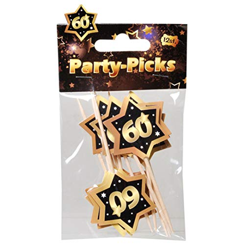 "Udo Schmidt GmbH Party Picks Mini Stecker 60\"" Schwarz Gold Partydeko Geburtstags Deko Buffet Dekoration"