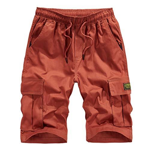 Pvc-stretch-slip (Cargo Shorts Herren Chino Kurze Hose Sommer Bermuda Sport Jogging Training Stretch Shorts Fitness Vintage Regular Sweatpants Qmber Im Freien beiläufiger Loser Reiner Farben Overall Strand(Orange,3XL))