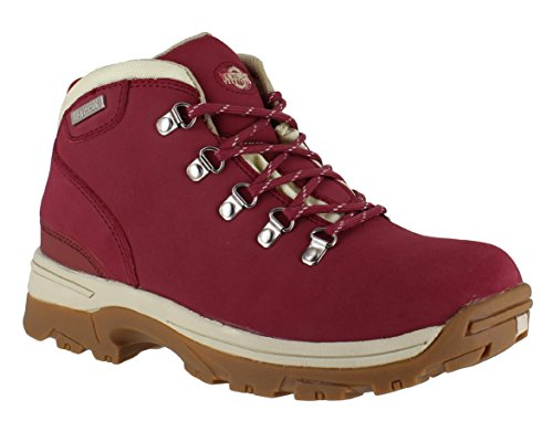 Ladies Trek Leather Upper Lightweight Fully Waterproof, Walking/Hiking/Trekking Winter Boot. (Red) (6 UK) Red 6 UK