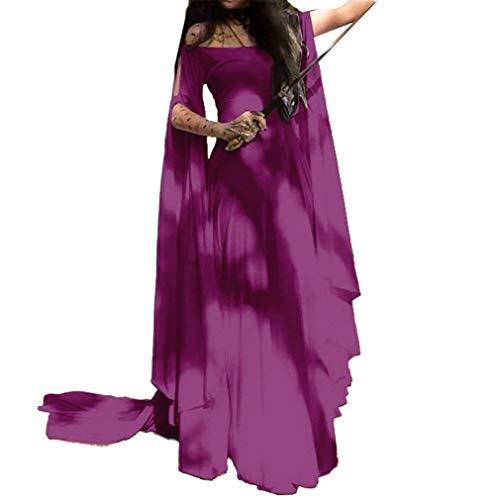 (Damen Mittelalter Langarm Kleid - Retro Renaissance Viktorianisch Kostüm Langes Kleider mit Ausgestellte Ärmel für Halloween Party Cosplay S-5XL)