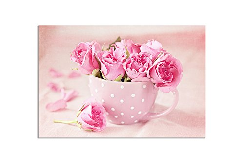 deinebilder24 Leinwand-Bilder modern - 80 x 120 cm - rosa Tasse, weiße Punkte, rosa - Rosa Rosen Bild