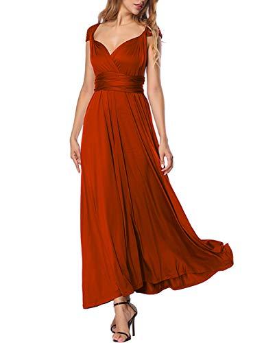 FeelinGirl Damen Elegant Abendkleider Partykleider Ballkleider Festkleider Sommerkleider Cocktailkleid Maxikleid Ärmellos Neckholder, Rot, M(EU 38-40)