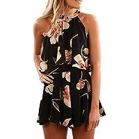LILICAT® Conjunto de 2 piezas para mujer, Floral Summer Beach camisa de chiffon chaleco sin mangas Tops sin mangas de las mujeres + pantalón corto de cintura alta �� (M, Negro)