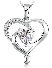 Collier, J.Rosée en Argent 925 Bijoux Femme/Fille, 5A Zirconium cubique Blanc, Pendentif coeur, Chaîne 45+5cm, Cadeau parfait L'Ange gardien