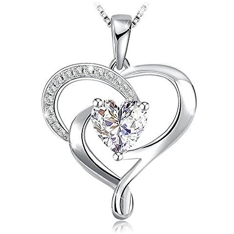 Heart Necklace 925 Sterling Silver Zirconia Heart Shape Stone J.Rosée