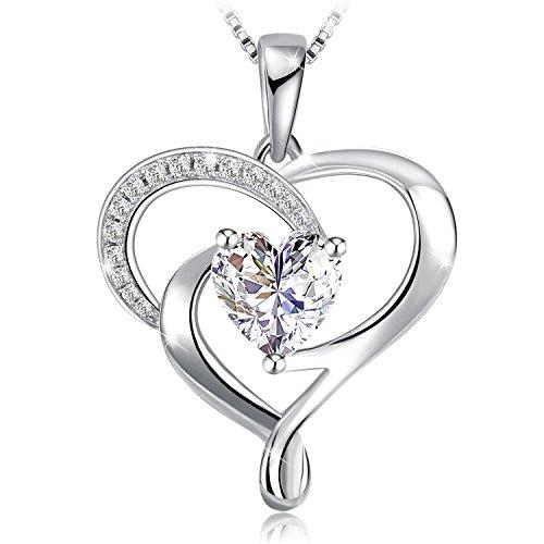 Collana, j.rosée una vita infinita argento 925 5a zirconi buon regalo donna con confezione bella 45cm+5cm