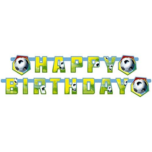 Fussball Party 180 x 15 cm Kindergeburtstag Happy Birthday Girlande Party Wimpelkette Jungen Geburtstagsgirlande Raumdeko Kinderparty Banner Geburtstag Fussballfest ()