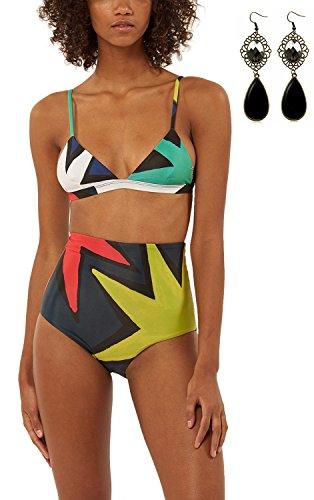 Sitengle Donna Bikini Vita Alta Costumi da Bagno Triangolo Multicolore Fionda Colori Misti Swimsuit Beachwear Spiaggia Multicolore
