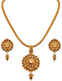 JFL - Traditional Ethnic One Gram Gold Plated Kundan Spiral Designer Pendant Set For Women And Girls.