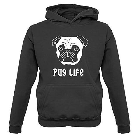 Pug Life - Childrens / Kids Hoodie - Black -