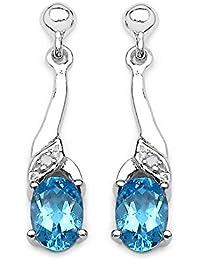 La Colección de Pendientes Topacio: Pendientes de Plata Topacio Azul naturales y Diamante con una caida de 2cms aprox.. Hermosa Navidad, aniversario, regalo de San Valentín