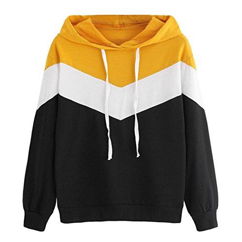 Hoodie Pullover Damen Btruely Herbst Winter Kapuzenpullover Mädchen Patchwork Hooded Sweatshirt Casual Jacket Langarm Top (M, Schwarz) (Cropped Hooded Sweater)