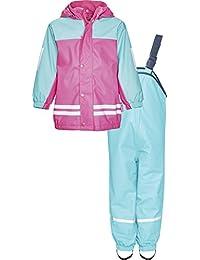 Playshoes Mädchen Regenjacke Kinder Wasserdichter Matschanzug, Regenanzug mit Fleece-Futter, Reflektoren, Abnehmbare Kapuze
