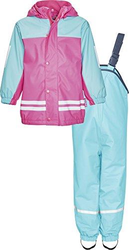 Playshoes Regenanzug-Set mit Fleece gefüttert, Mädchen Matsch-Anzug 2-teilig, wind- und wasserdicht -