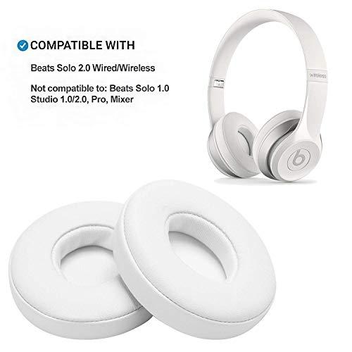 WADEO Solo2 Mousse mémoire oreillette Protéine en Cuir Coussin d'oreille Pièces De Rechange Earpads pour Beats Solo 2 Earpad on-Ear Casque Ear Cups Blanc