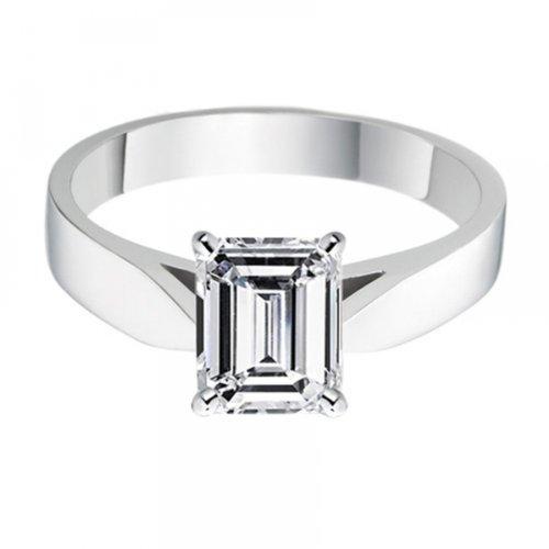 Diamond Manufacturers, Damen, Verlobungsring mit 0.25 Karat E/VS1 feinem und zertifiziertem Smaragddiamant in 18k Weißgold, Gr. 41 - 4