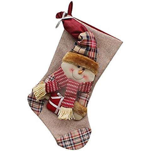 1pcs decoraciones de Navidad de Santa Claus muñeco de nieve de caramelo Calcetines regalos de la decoración del bolso-muñeco de nieve