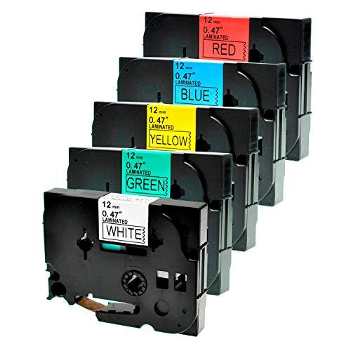 Logic-Seek 5 Schriftbänder kompatibel für Brother TZE231-TZE731 12mm Schwarz auf Blau/Rot/Gelb/Grün/Weiss