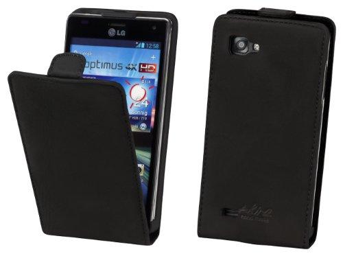 Akira Handmade Original PREMIUM QUALITÀ PELLE VERA Flip Case per LG P880 Optimus 4X HD Nero