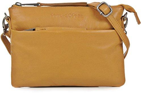 PHIL+SOPHIE, Damen Handtaschen, Abendtaschen, Clutch, Umhängetaschen, Crossover-Bags, Crossbodys, Leder, 20,5 x 14 x 2 cm (B x H x T), Farbe:Camel -