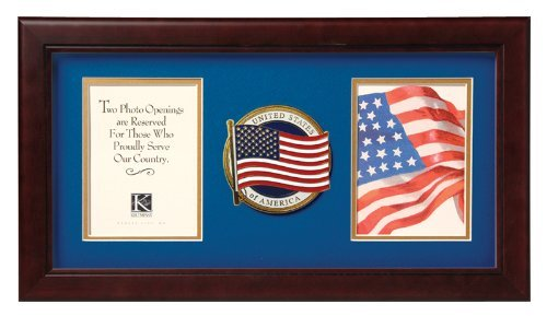 IK HAPPY Flag Box Allied Frame US American Flag Medallion Double Picture Frame-Zwei 4 x 6 Fotoöffnungen ab