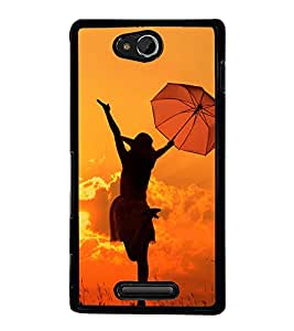 Girl with Umbrella 2D Hard Polycarbonate Designer Back Case Cover for Sony Xperia C :: Sony Xperia C HSPA+ C2305