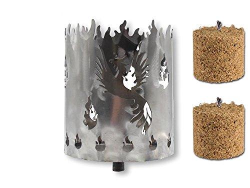 Unbekannt Gartenfackel auf Stecker \'Phönix\', aus Metall, Höhe: 128 cm, Ø 15cm, INKL. 2 Holzbrennelementen Garten Sommer Fackel Windlicht