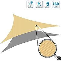 Cool Area Toldo Vela de Sombra triángulo 4 x 4 x 4 Metros protección UV Impermeable, Color Arena